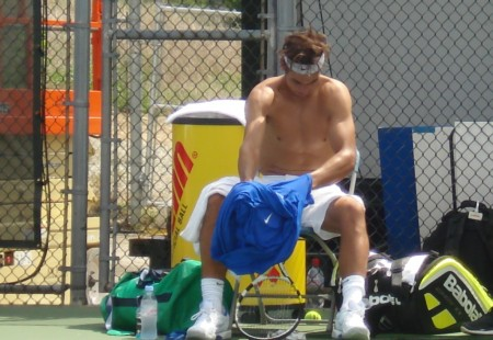 Rafael Nadal Western and Southern Open Cincinnati Sunday practice 2011 shirt change abs pecs headband tousled hair biceps legs shirtless ass naked
