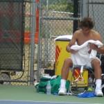Rafael Nadal shirt change Cincinnati Western and Southern Open Sunday practice shirtless naked shorts towel biceps shoulders legs