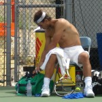 Rafael Nadal Western and Southern Open Cincinnati Sunday practice 2011 Rafa shirt change head band hair abs pecs biceps legs shirtless nude