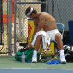 Rafael Nadal shirt change Cincinnati Western and Southern Open Sunday practice shirtless naked abs biceps back legs ass