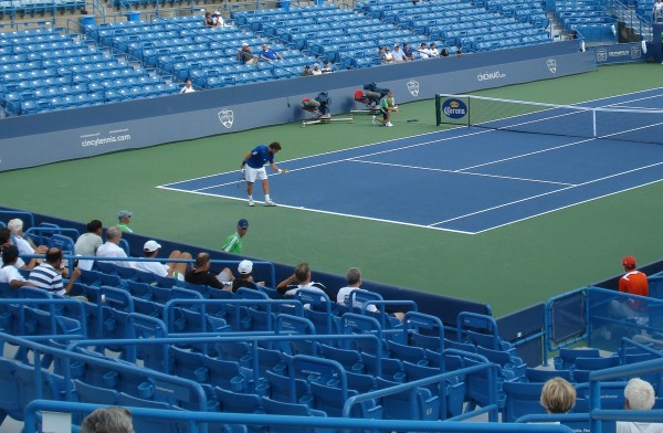 Western & Southern Open Ernests Gulbis Qualifier Falla empty stands blue white pictures images photos