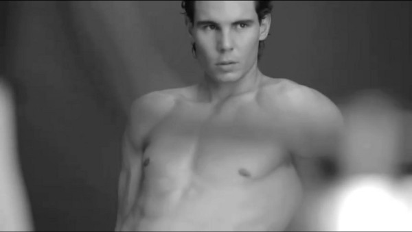 Rafael Nadal leaning Armani underwear jeans shirtless topless pecs ribs shoulders cheekbones screencaps images photos pictures