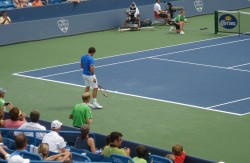 Federer tennis Cincinnati match against Berdych white shorts