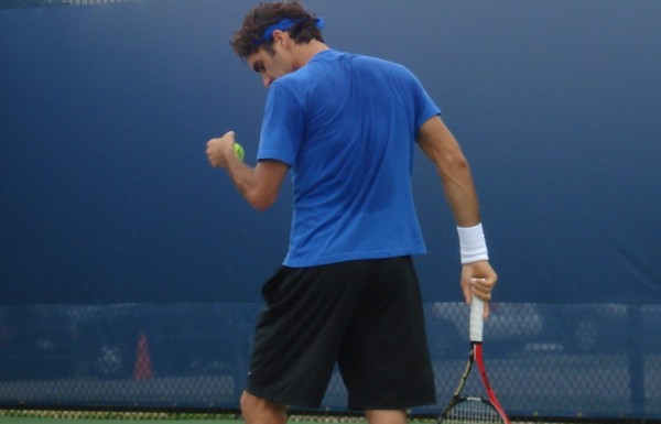 Federer sweaty serve racquet tennis ball pictures photos images