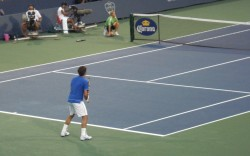 Federer Western and Southern Cincinnati Open white shorts blue shirt