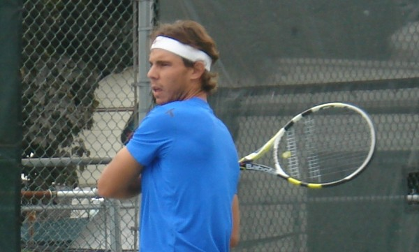 Western & Southern Open Rafael Nadal blue shirt headband sigh grunting pictures practice photos 2011 August