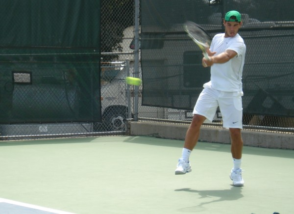 Cincinnati Open Rafa Nadal white shirt shorts green bull hat swing grunting sighing pictures images